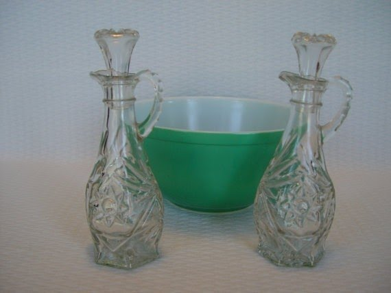 Vintage clear cut glass oil and vinegar