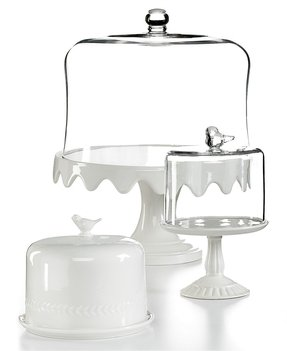 White cake stand with dome 15