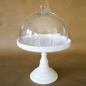 White cake stand with dome 3