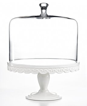 White cake stand with dome 8
