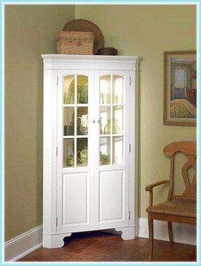 White Curio Corner Cabinet