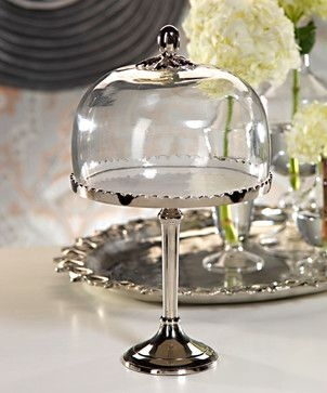 White Enameled Aluminum Cake Stand With Glass Dome Transitional Dessert And Cake Stands