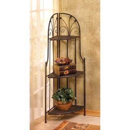 Superbe Wrought Iron Corner Etagere