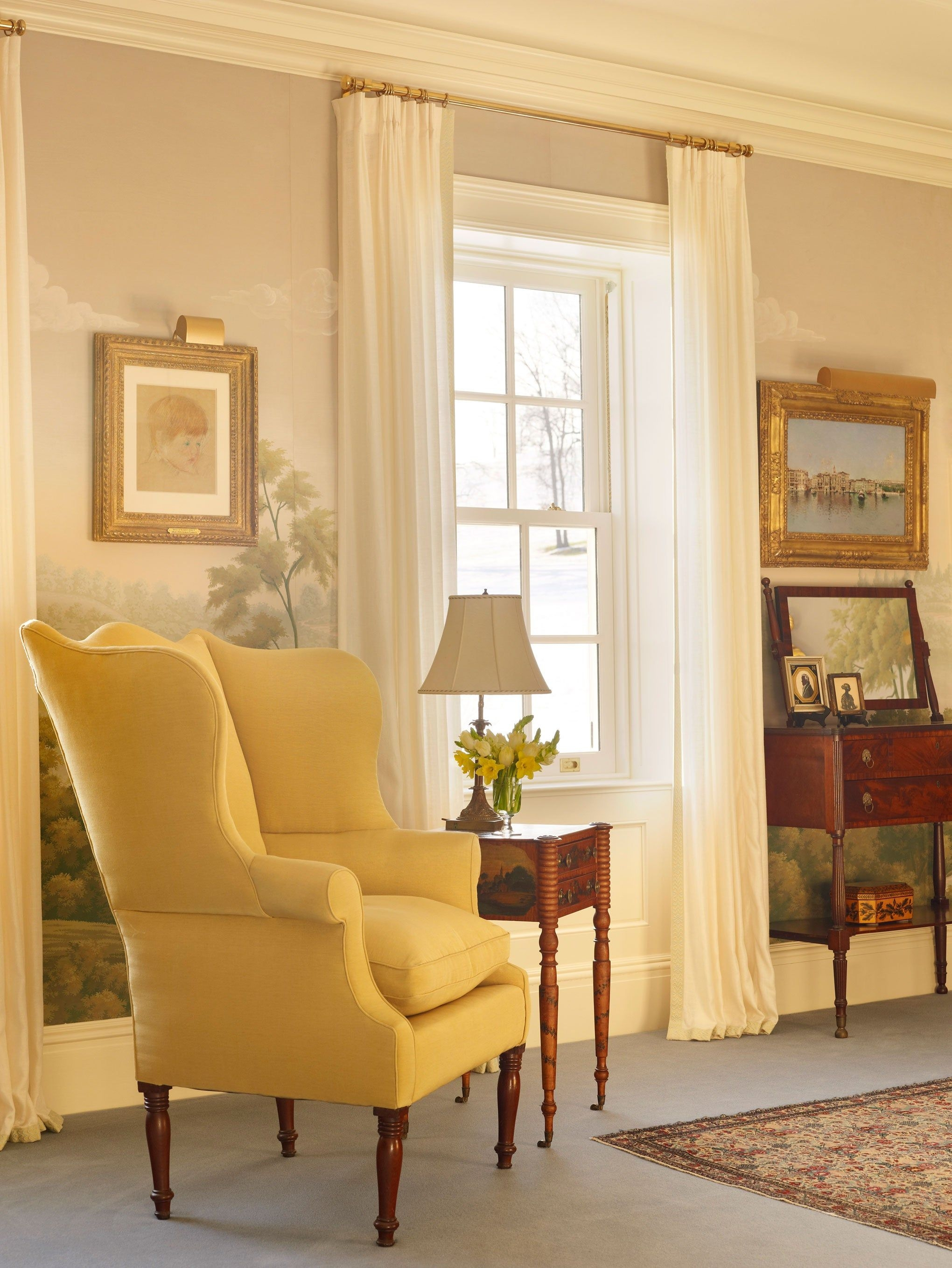 Yellow Wingback Chair 1
