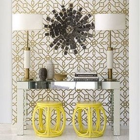 A very dramatic entryway in gold black and yellow
