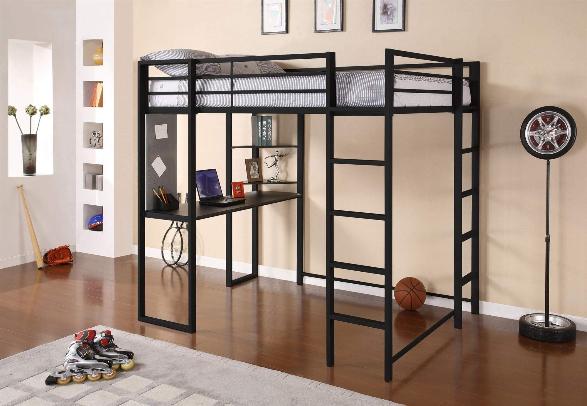 Adobe full metal loft bed over workstation desk black