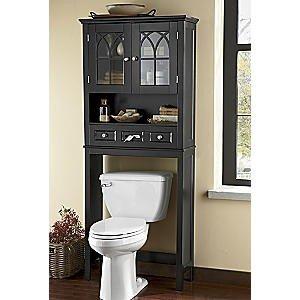 Bathroom Storage w//Glass Windows,White Home Over The Toilet Bathroom Spacesaver