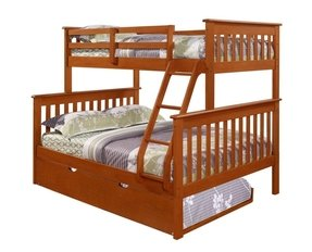Bunk Bed Twin over Full Mission Style in Espresso with Trundle