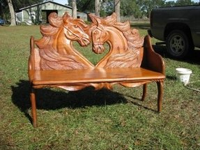 Carved wooden bench 1