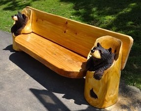 Carved wooden bench 2
