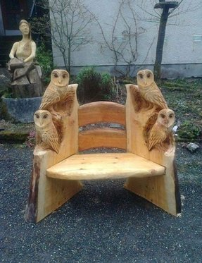 Carved wooden bench 4