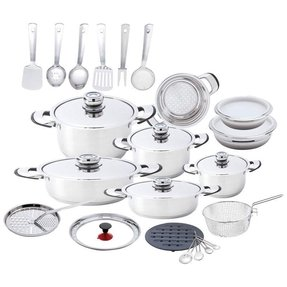 Chefs secret 12 element stainless steel 33pc cookware set