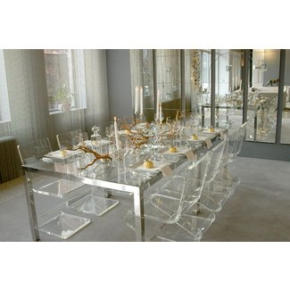 Clear acrylic dining table