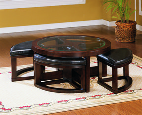 Coffee table with pull out ottomans 1