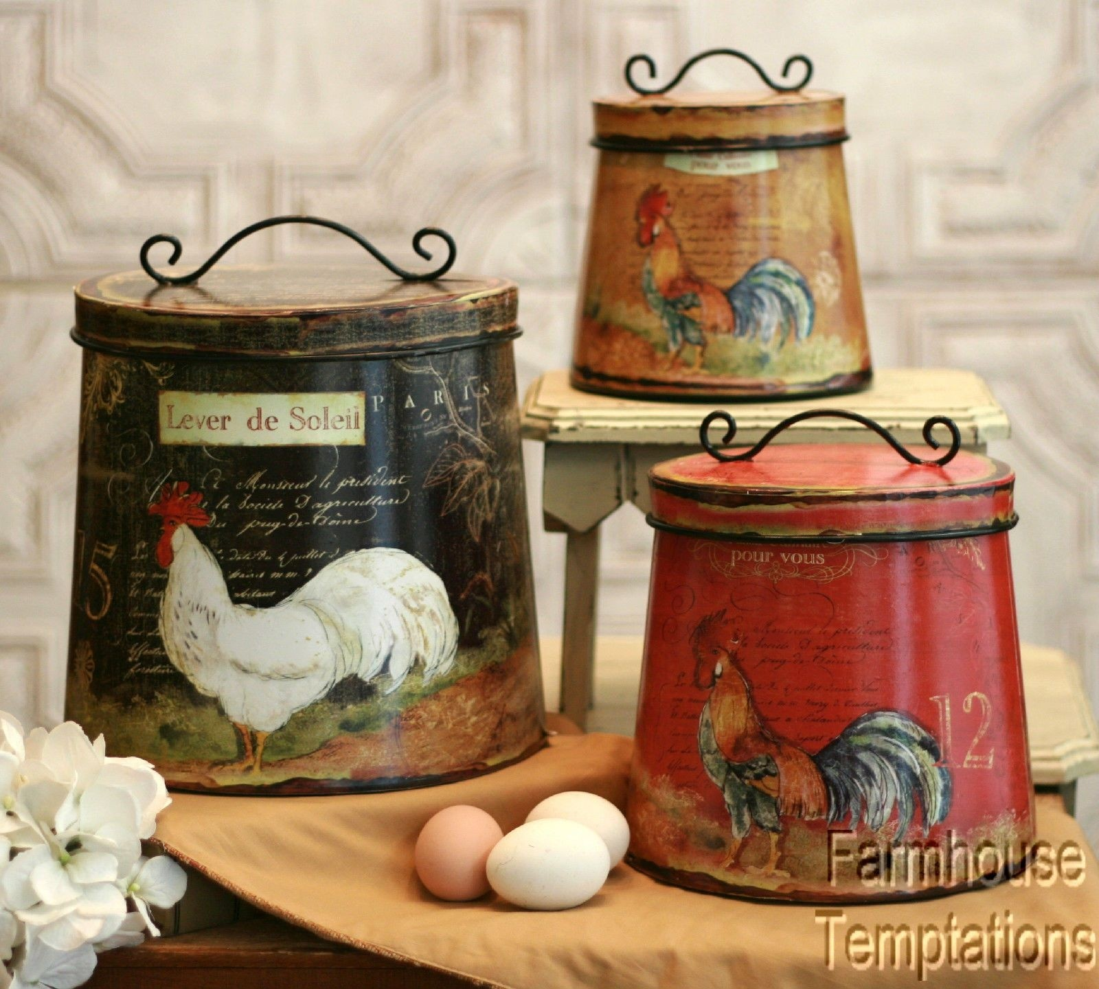 Chicken cockerel roosters canisters SMALL Tea Sugar,/& Coffee white canister
