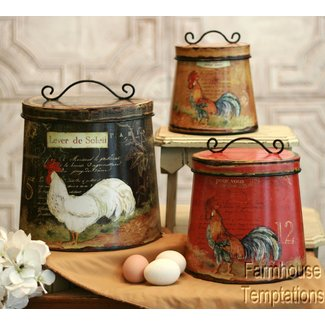 Cottage rooster canister set shabby french country chic tin tuscan