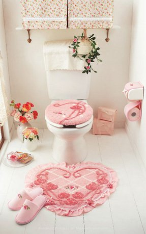 Cute pink heart toilet seat cushion cover mat and bathroom