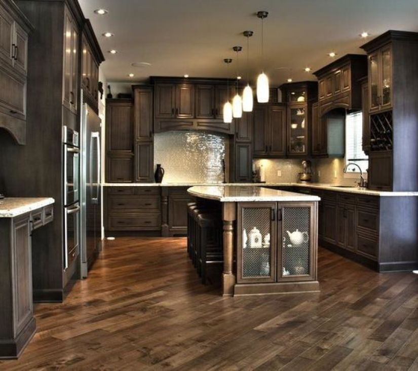 Dark Wood Kitchen Island