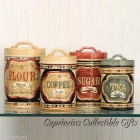 Elegant country store canister set of 4 flour sugar coffee