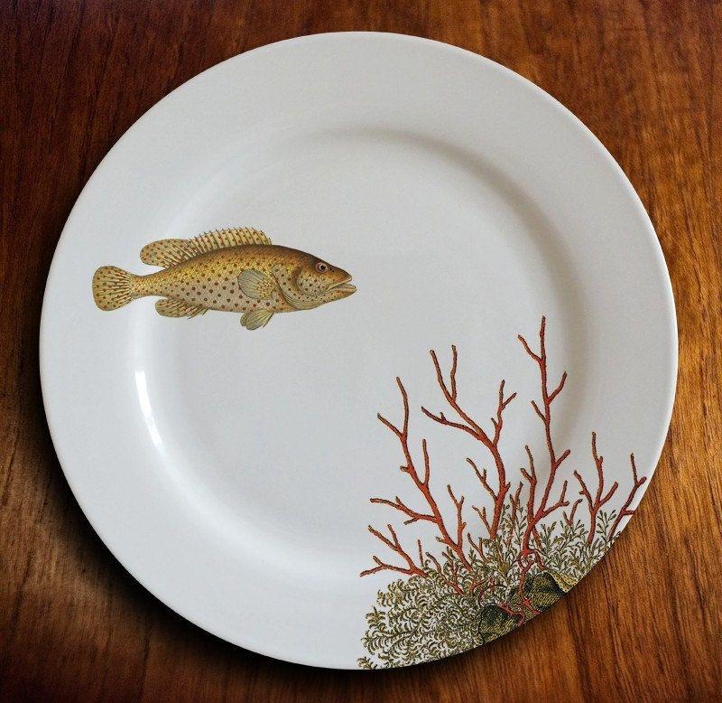 Decor Seafood Restaurant Majolica Dinner Plates Set of plates Four Large Green Ceramic Fish Plates Fish Shape Serving Plates