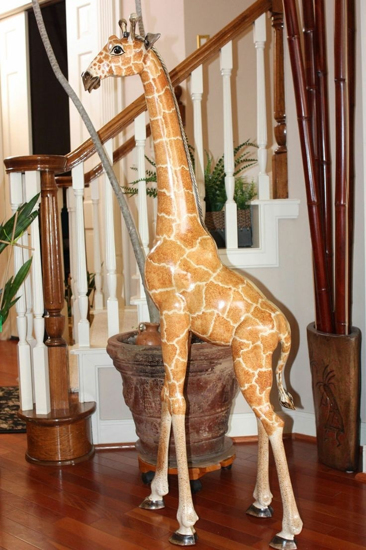 Giraffe Hand Carved and Painted Rustic Colours Fair Trade