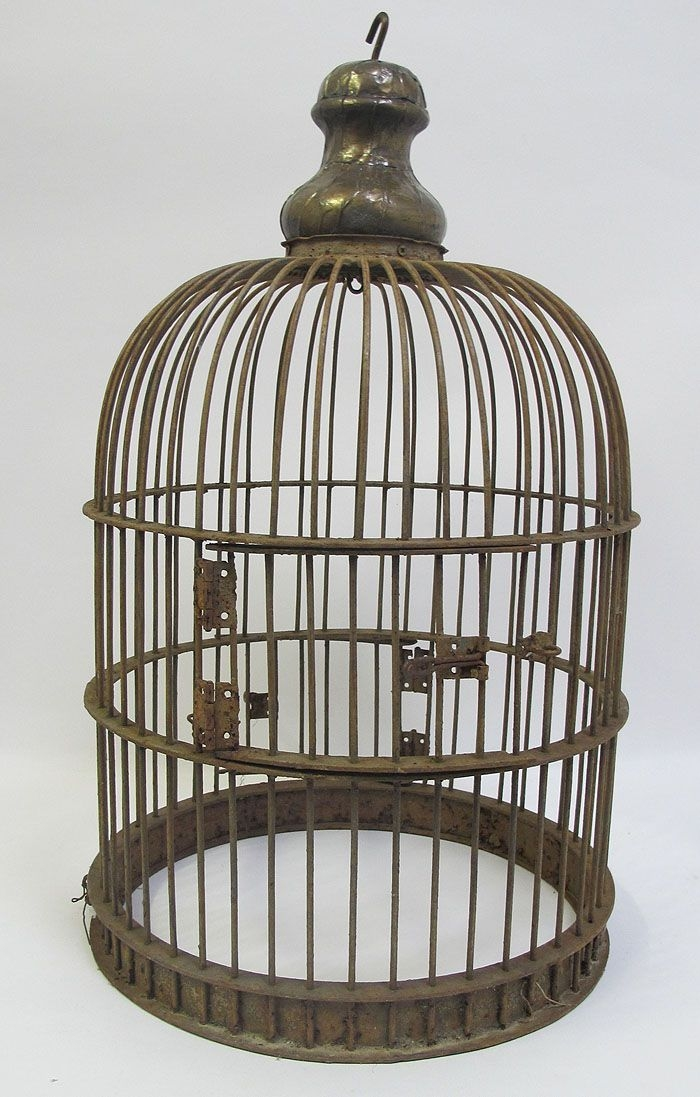 Heavy Antique Late 19th Century Huge Cast Iron 2 Door Dome Top Bird Cage Yqz