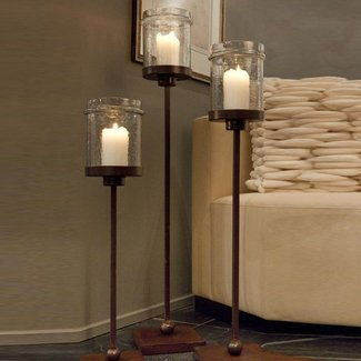 Iron floor candle holders