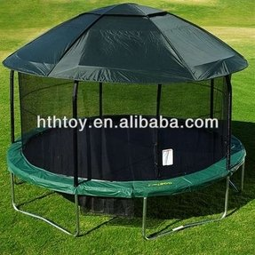 Jumpod elite 14 trampoline and enclosure combo with protective cover