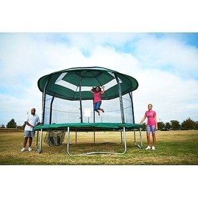 Jumppod elite 15 trampoline and enclosure combo with protective cover
