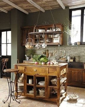 Kitchen island with pot rack 3