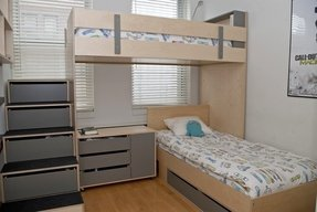 L shaped bunk beds sleeps 4