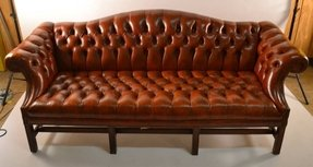 Leather camel back sofa 5