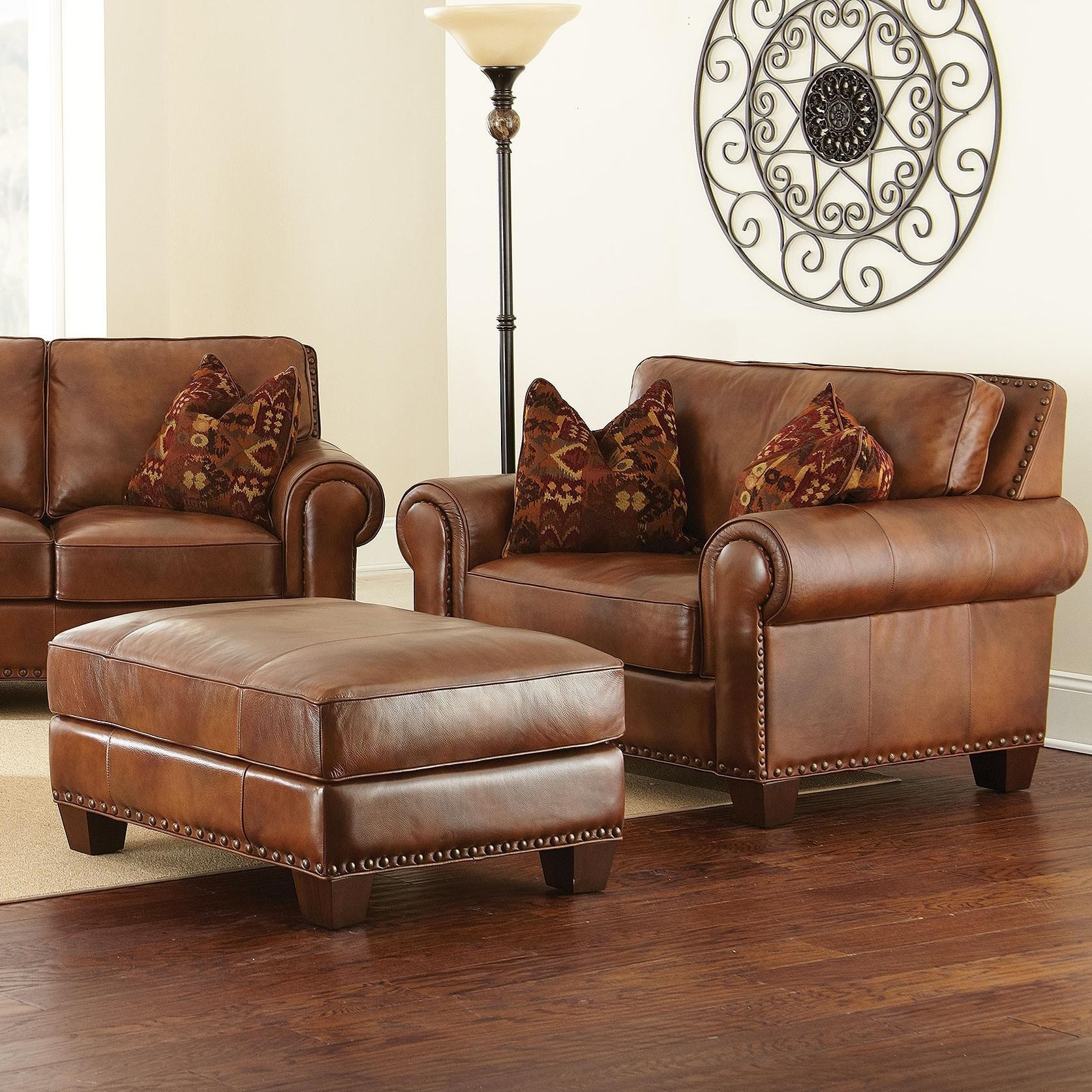 Exceptionnel Leather Chair And A Half With Ottoman
