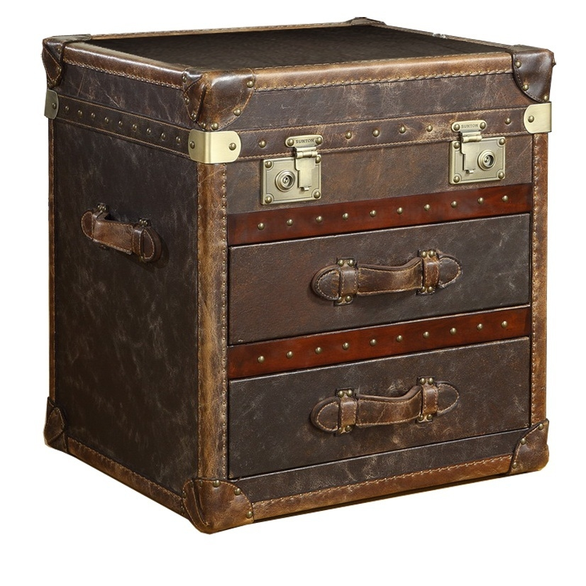 Beau Leather Trunk End Table 1