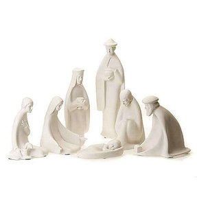 Nativity set white porcelain