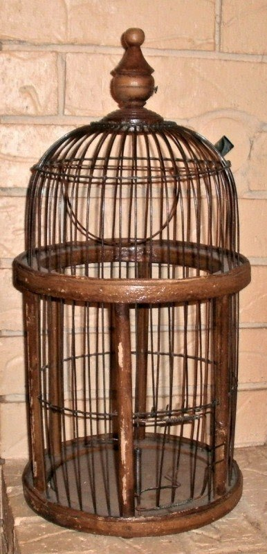 Old bird cage french wooden bird cage