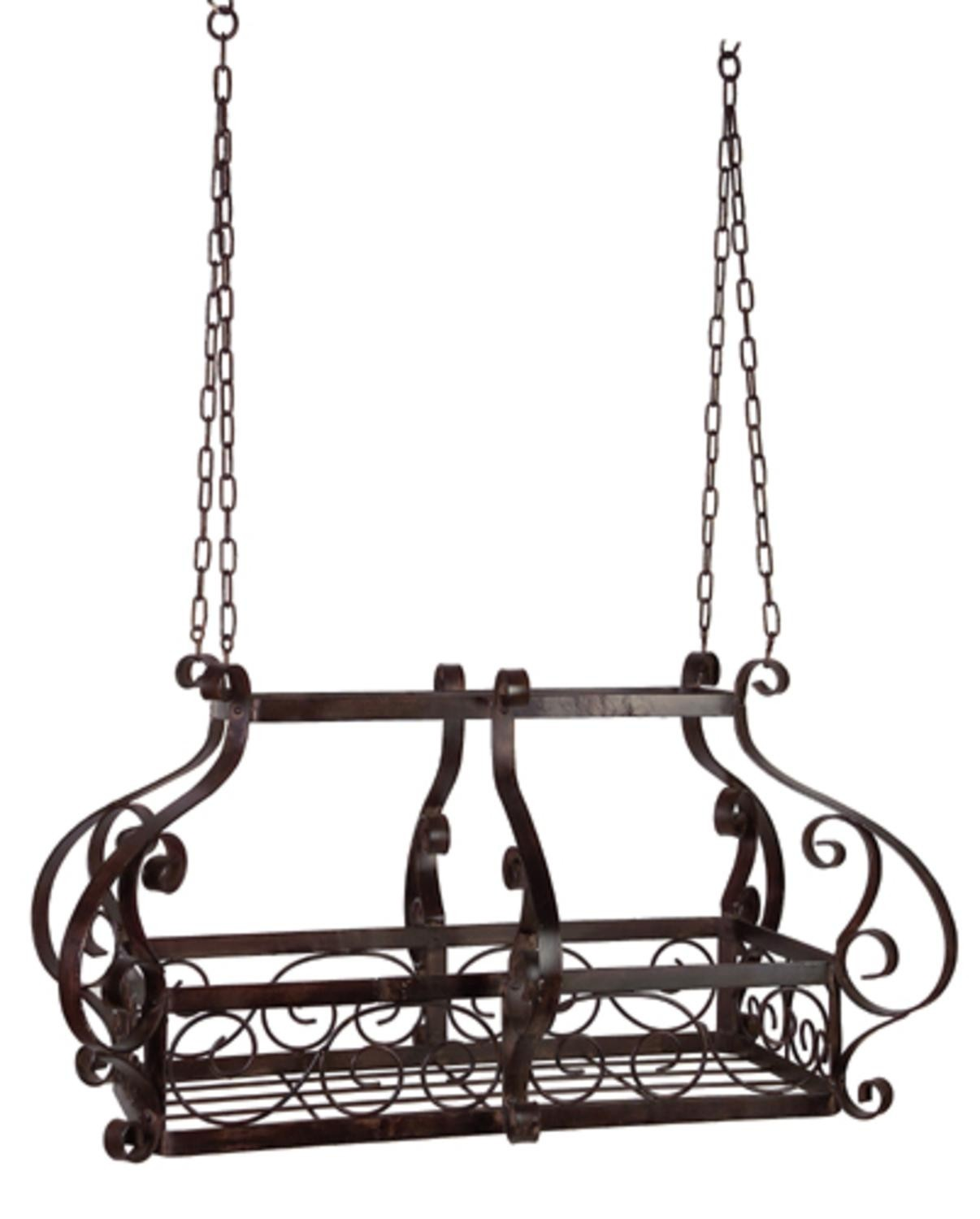 Old world kitchen wrought iron hanging pot rack for cooking