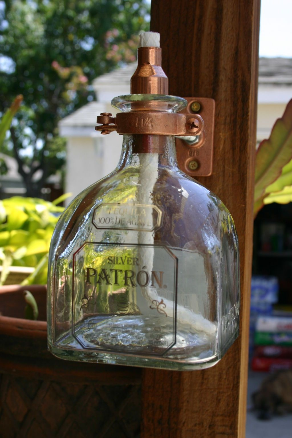 Patron tequila tiki torch oil lamp