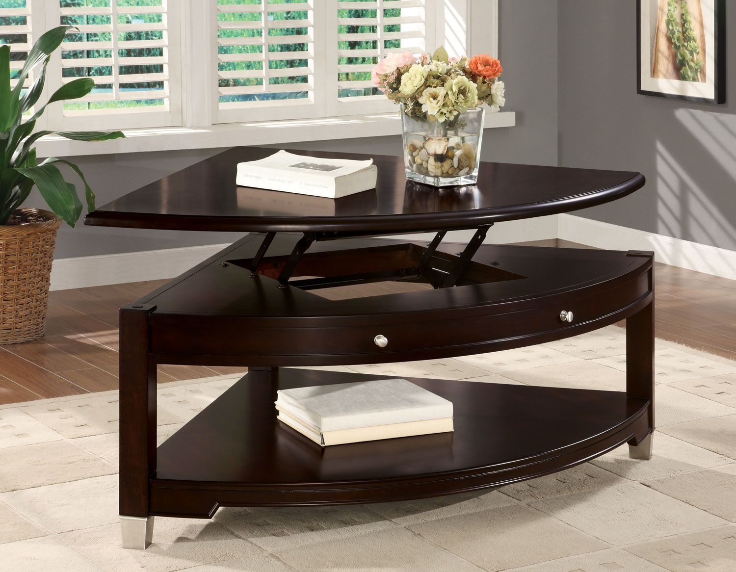 Pie Shaped Lift Top Coffee Table 1