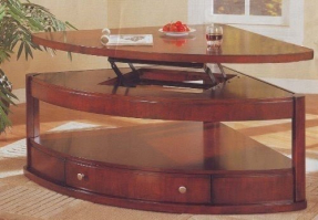 Pie shaped lift top coffee table 2