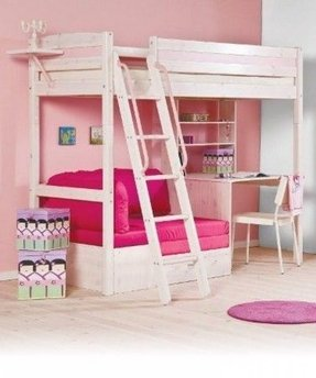 Pine loft bed with desk