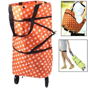 Portable Shopping Cart Tote Bag with Wheel / Folding Single-shoulder Shopping Bag ~Green