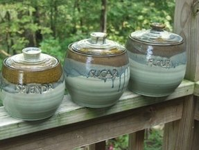 Pottery ceramic canister sets custom 2