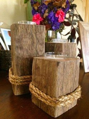 Reclaimed wood candle holder set of 3