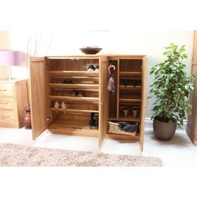Solid oak shoe cabinet