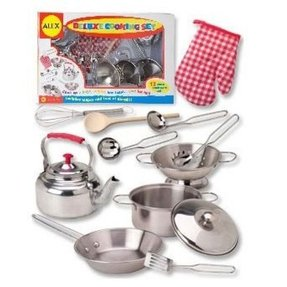 Stainless steel play kitchen set 1