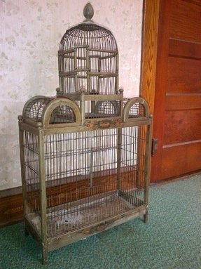 Stunning vintage bird cage in varying shades of green with