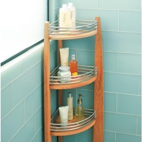 Teak corner shelf caddy 1