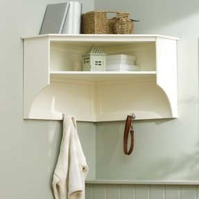 Tetbury ivory corner shelf and hooks e411 with free delivery