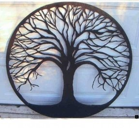 Tree of life hand cut metal powder coat
